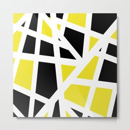 Abstract Interstate  Roadways Black & Yellow Color Metal Print