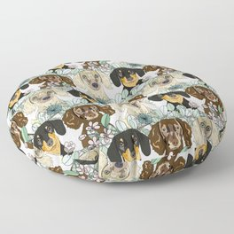 Triple Dachshunds Floral Floor Pillow