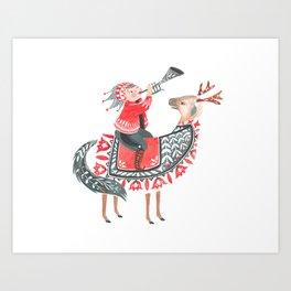 The little horn blower Art Print