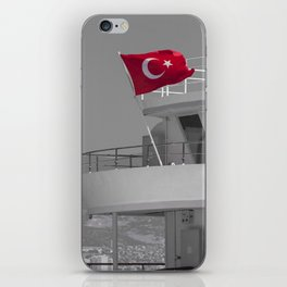 Boat with turkish flag iPhone Skin