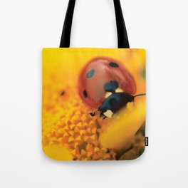Ladybird, macro photography, still life, fine art, nature photo, romantic wall print Tote Bag