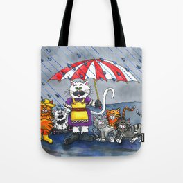 Cats on a Rainy Day Tote Bag