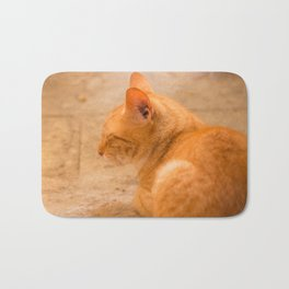 Orange Cat Is Resting On The Terrace  #decor #society6 #homedecor Bath Mat