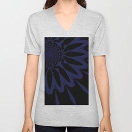 Modern Flower Dark Blue Unisex V-Neck