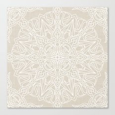 White Lace Mandala on Antique Ivory Linen Background Canvas Print