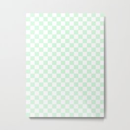 Small Checkered - White and Pastel Green Metal Print