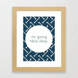 Its Going Tibia Okay - Dem Bones in Blue Framed Art Print