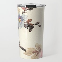 Pink & Blue Vintage Floral Design Travel Mug