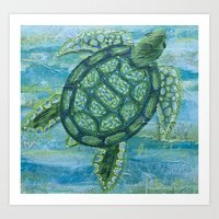 sea turtle Art Prints featuring turtle by Brittany Rae