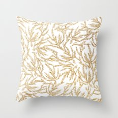 Gold Coral Ferns Throw Pillow