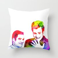 klaine Throw Pillows featuring Joy in Color by Jen K