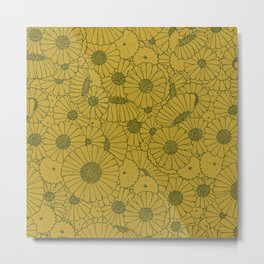 Floral Bunch Mustard Green Metal Print