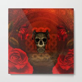 Creepy skull with roses, Metal Print