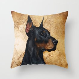 Black and Gold ( Doberman dog ) Throw Pillow