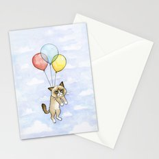 Cat With Balloons Grumpy Birthday Meme Stationery Cards