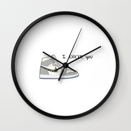 Jordan 1 Grey Valentine's day - I adore you Wall Clock