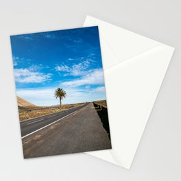 Let the road guide you to the palmtree | Lanzarote island | Minimal fine art travel photography | Stationery Cards