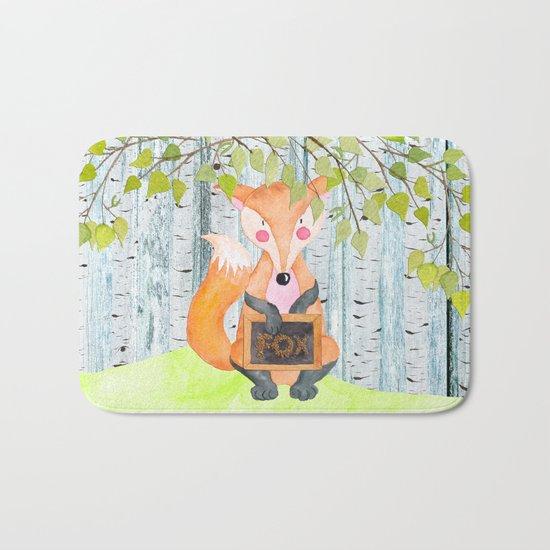 The little Fox- Woodland Friends- Watercolor Illustration Bath Mat