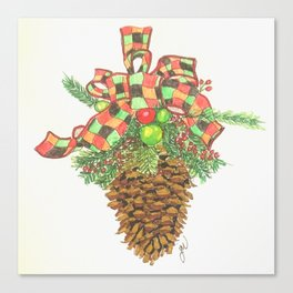 Holiday Pine Cone Canvas Print