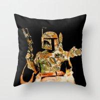 boba Throw Pillows featuring Boba by Robotic Ewe