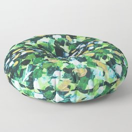 Colorful Green Abstract Painting Floor Pillow