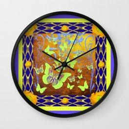 Decorative Butterflies Blue-Gold Patterns Floral Wall Clock