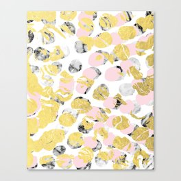 Stellan - Rose Marble Gold abstract art painting modern minimal love rosequartz pastel pink dorm Canvas Print
