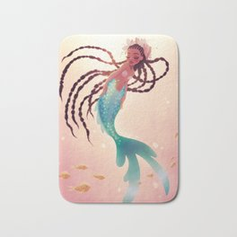 Mermaid With Long Braids Bath Mat