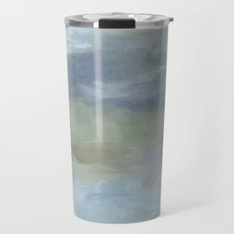 Diptych II - Sky Gray Blue Sage Green Abstract Wall Art, Painting Art, Lake Nature Print Portrait Travel Mug