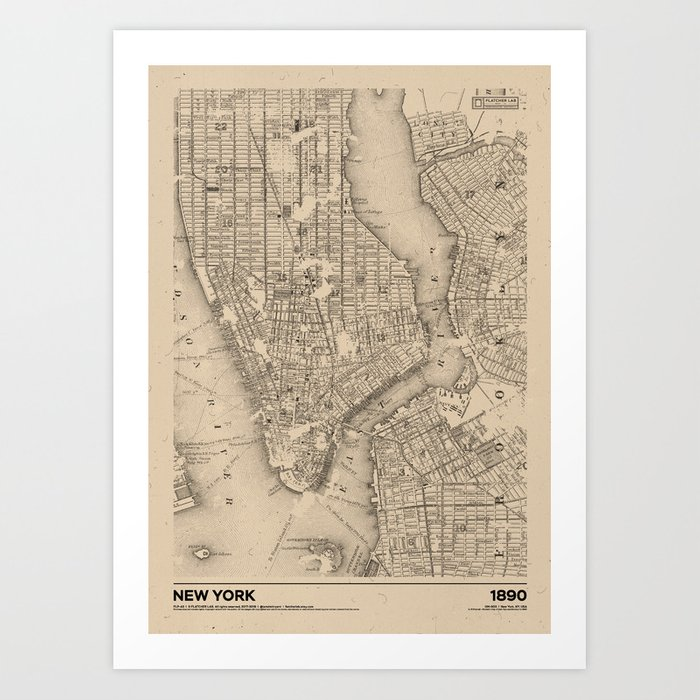 New York 1890 - Old Vintage USA Map Art Print by flatcherlab | Society6