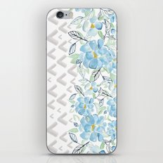 Gray arrows and blue flowers iPhone & iPod Skin