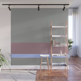 Solid Gray w/ Muted Magenta/Pastel Blue Divider Lines - Abstract #ArtofGaneneK Art Illustration Wall Mural