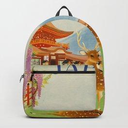 Vintage Mid Century Modern Japan Travel Poster Deer Red Pagoda Wisteria Garden Backpack