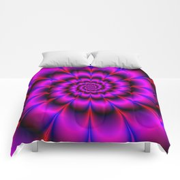 Spiral Rosette in Pink Blue and Red Comforters