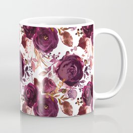 Burgundy pink white watercolor hand painted floral Coffee Mug
