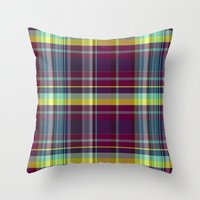 vegetable Throw Pillows featuring vegetable madras by design lunatic