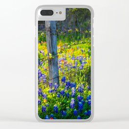Country Living - Fence Post and Vines Among Bluebonnets and Indian Paintbrush Wildflowers Clear iPhone Case