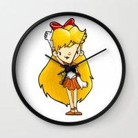 sailor venus Wall Clocks featuring Sailor Scout Sailor Venus by Space Bat designs