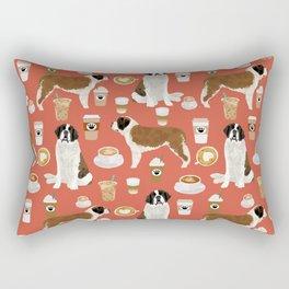 Saint Bernard coffee dog breed pattern pet friendly pet portraits dog art Rectangular Pillow