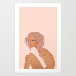 nude portrait of tanned girl with violet hair Art Print