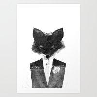minima - dapper fox | noir Art Print