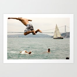 Sailing Race Bosphorus Cup, with local boys swimming in the sea. | Travel photography from Istanbul, Turkey. | Fine are photo print in color.  Art Print