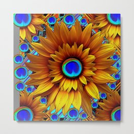 SURREAL GOLDEN SUNFLOWERS PEACOCK BLUE EYES Metal Print