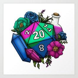 Pride Polysexual D20 Tabletop RPG Gaming Dice Art Print