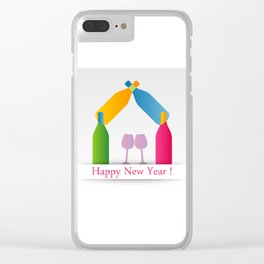 New year greetings with House formed with many colorful bottles and glasses Clear iPhone Case