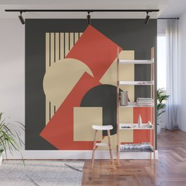 Geometrical abstract art deco mash-up scarlet beige Wall Mural