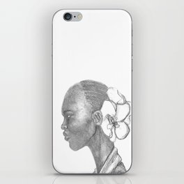 Black woman w/ white orchid iPhone Skin
