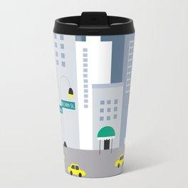New York City, New York - Skyline Illustration by Loose Petals Travel Mug