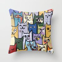 a lot of cats Throw Pillows featuring Cats a Lot by grrrenadine