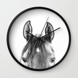 peekaboo horse, bw horse print, horse photo, equestrian print, equestrian photo, equestrian decor Wall Clock